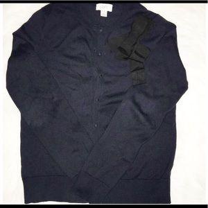 Loft cardigan navy blue w/bow NWT